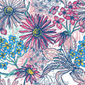 Hand drawn fresh floral seamless pattern — Vecteur