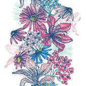Tender retro floral seamless border — Stock Vector