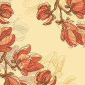 Retro magnolia flowers card — Stock Vector