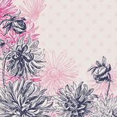 Vintage dahlia flowers background — Stockvektor