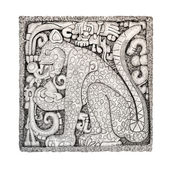 Mayan stone carving relief isolated on white — Stock Photo