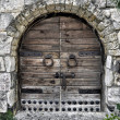 Stock Photo: Locked wooden door of a castle