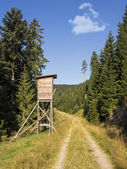 Deer stand hunting tower in forest — Stock Photo