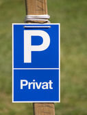 Pivate blue parking sign — Stock Photo