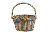 Wicker shopping basket isolated on white — Stock Photo