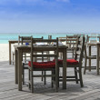 Restaurant on the beach with view over turquoise ocean — Stok fotoğraf