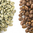 Raw and toasted coffee beans — Stock Photo #27524999