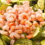 Zucchini and shrimps — Stock Photo