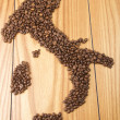 Italy map with Coffee beans — Stock Photo #32764361