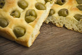 Focaccia with olives — Stock Photo