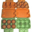 Stock Photo: Eggs in orange and green packaging