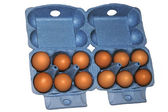 Eggs in blue packaging — Stock Photo