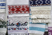 Materials and embroidered Romanian traditional port specific 4 — Stock Photo