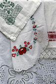 Materials and embroidered Romanian traditional port specific 5 — Stock Photo