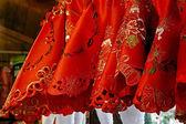 Guardanapos de pano vermelho para jantar de natal — Fotografia Stock