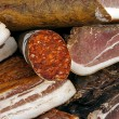 Pieces of smoked pork bacon-4 - Stock Photo