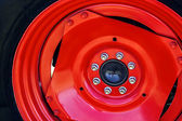 Large red wheel rim -2 — Stock Photo