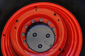 Large red wheel rim -1 — Stock Photo