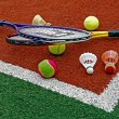Stock Photo: Tennis balls, Badminton shuttlecocks & Racket-1