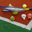 Tennis balls, Badminton shuttlecocks & Racket-1 — Stock Photo