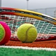 Tennis balls, Badminton shuttlecocks & Racket-3 — Stock Photo