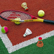 Stock Photo: Tennis balls, Badminton shuttlecocks & Racket-2