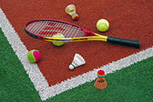 Tennis balls, Badminton shuttlecocks & Racket-2 — ストック写真