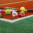 Tennis balls, Badminton shuttlecocks & Racket-4 — Stock Photo