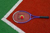 Palla da tennis & racchetta-2 — Foto Stock