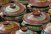 Large ceramic pots, traditional Romanian 1 — Stock Photo