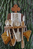 Romanian traditional objects of wood — Stock Photo