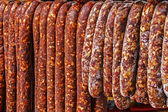 Romanian sausages (carnati), smoked and dried-1 — Stock Photo