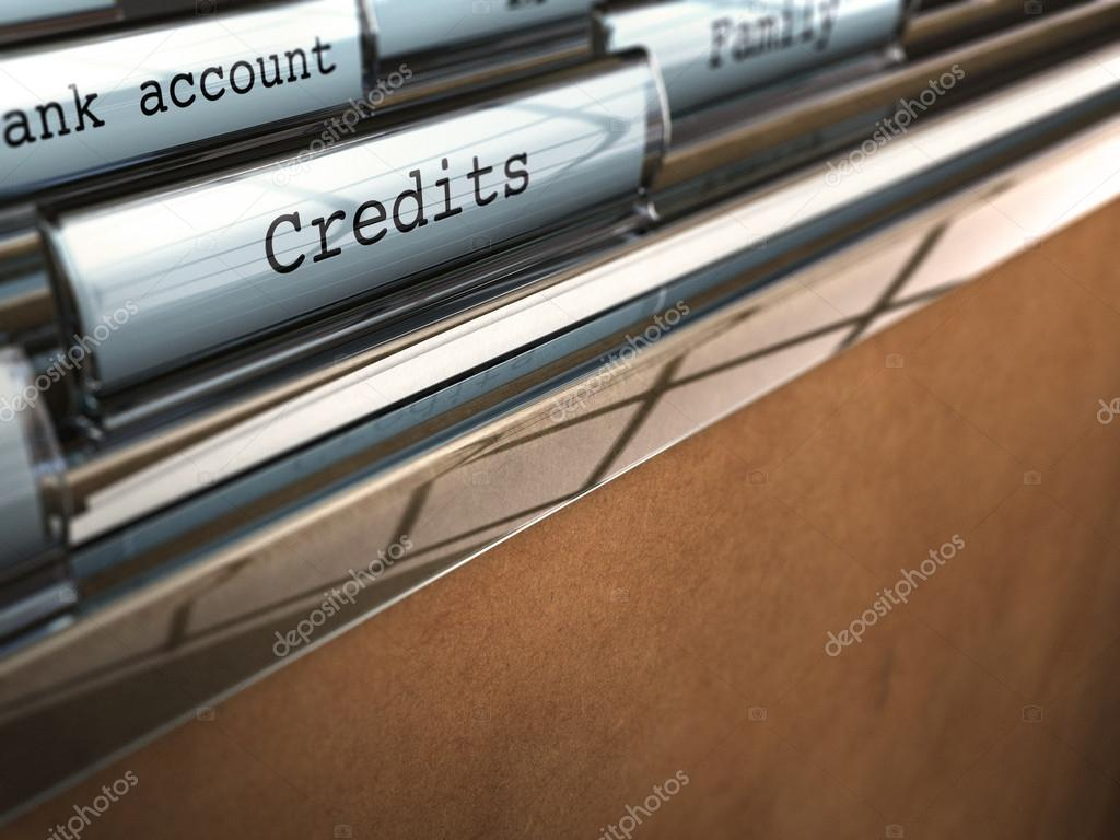 Folder with the word credit and bank account with blur effect and perspective, brown paper  Stock Photo #12634250