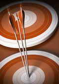 Cible et flèche fond, objectif commercial — Photo