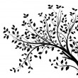 Vector tree branch, black silhouette — 图库矢量图片