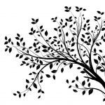 silueta vector árbol rama, negro — Vector de stock