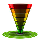 Sales or Conversion Funnel, Vector Web Analytics — Stock Vector