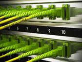 Network Infrastructure, Fiber Optics Connections — Stock Photo