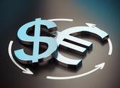 Euro and Dollar Symbol. EUR USD Pair — Stock Photo