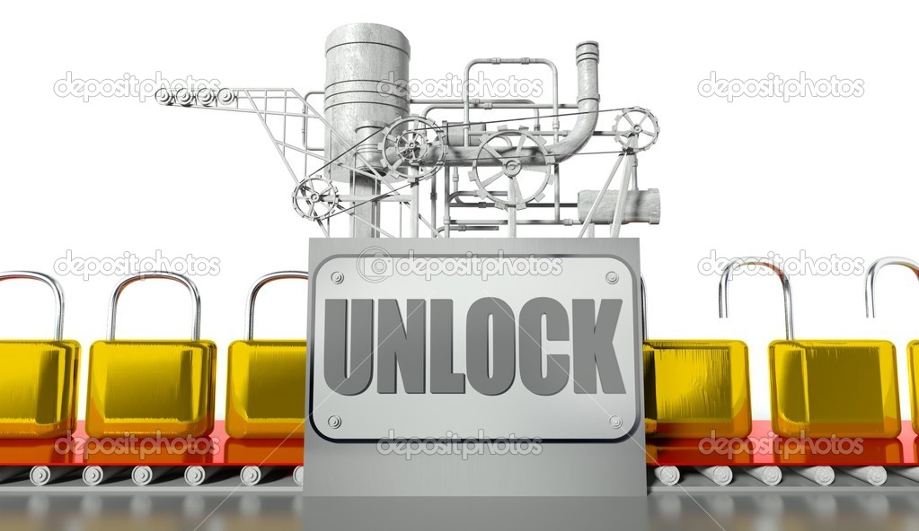 Unlock concept, open and closed padlocks with machine  Stock Photo #12185346