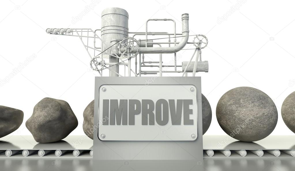 Improve concept with imperfection and perfection in machine  Stock Photo #12185437