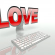 Stock Photo: Virtual love on the internet concept