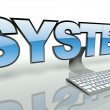 System concept, computer and keyboard — Stock Photo