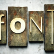Font concept with vintage letterpress — Stock Photo #12431666