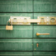Royalty-Free Stock Photo: Golden padlock and handle on green door, detail