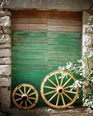 Old stone house with green door in Croatia — Stock Photo