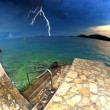 Beach and clear sea in Croatia, storm and thunderstorm — Stock Photo