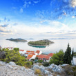 Foto Stock: Panorama of coast, islands and old town, Croatia Dalmatia