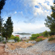 Panorama of coast, islands and old town, Croatia Dalmatia — Foto Stock