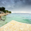 View of the bay, beach and cloudy sky, Croatia Dalmatia — Stock Photo